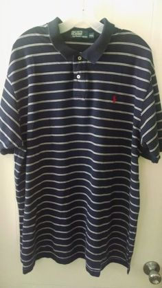 Polo by Ralph Lauren Men's Shirt Polo Size XXL Blue with White Stripes #PoloRalphLauren #PoloRugby