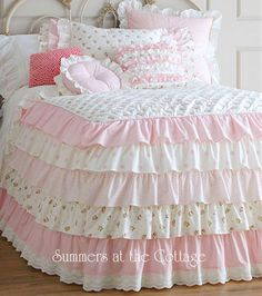 Summers At The Cottage Floral Ruffle Girls Bedding Twin SizeCottage Colors darling pink roses and rosebuds ruffled pillow shams and white lace round pillow for your girls shabby chic cottage bedroom or guest house.