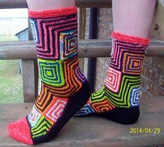 Scrap quilt meets sock yarn blanket and you get modular socks. The pattern is Albers from Op-Art Socks by Stephanie Van Der Linden.