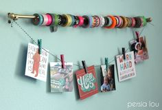 Washi tape storage idea: Curtain rod
