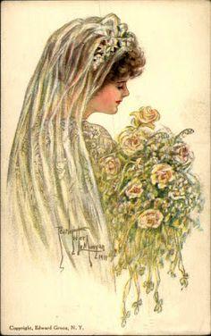 The Best Hearts Are Crunchy: June Bride -Postcard Friendship Friday Bride Veil, Wedding Bride, Wedding Cards, Wedding Postcard, Wedding Gowns, Vintage Wedding Photos, Vintage Bridal, Vintage Images, Vintage Weddings