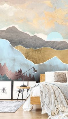 Create a bedroom with a difference with this stunning winter light wall mural – Winter And New Year Wall Murals Bedroom, Feature Wall Bedroom, Painted Wall Murals, Wall Paper Bedroom, Bedroom Chair, Bedroom Decor, Interior Exterior, Interior Design, Lit Wallpaper