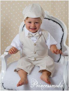 LEONARDO - Sommerlicher Baby-Taufanzug mit Nadelstreifen - Princessmoda - Alles für Taufe Kommunion und festliche Anlässe