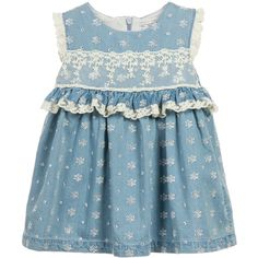Baby girls, sleeveless, blue cotton denim dress by Mayoral with a silver, floral embroidered design and ivory lace trim around the armholes and waist. It has a fitted bodice with pin tuck details at the high waist, giving it a flared shape. This cute dress is fully lined in smooth fabric and has a concealed zip fastening a the back.<br /> <ul> <li>100% cotton (lightweight, textured feel)</li> <li>Lining: 100% polyester (smooth, lightweight feel)</li> <li>Machine wash (30*C)</li> <li>Zi...