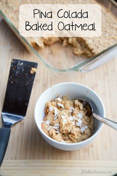 Pina Colada Baked Oatmeal Recipe ~ part of our 31 Days of Breakfast Recipes Series | 5DollarDinners.com