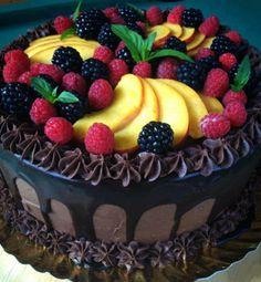 Beautiful chocolate cake with fruit.