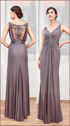 Chic Chiffon V-neck Neckline Sheath Mother Of The Bride Dresses With Beaded Lace Appliques