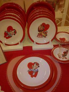 Children's Valentine's Dishes   Vintage Style