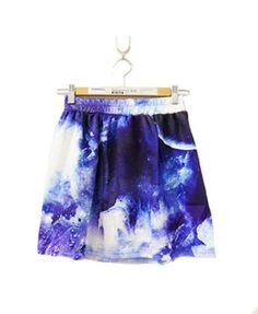 Elastic Waist Mini Skirt with Galaxy Print