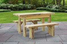 Amish Live Edge 5 Foot Autumnwood Table with 2 - 5 Foot Wildwood Benches Create a pretty picnic spot outside with the Autumnwood Table. Rich with rustic style. A sturdy, durable go-to for outdoor dining. #picnictables #outdoortables Reclaimed Furniture, Amish Furniture, Furniture Making, Outdoor Dining Furniture, Outdoor Tables, Garden Furniture, Picnic Spot, Picnic Table, Rustic Feel