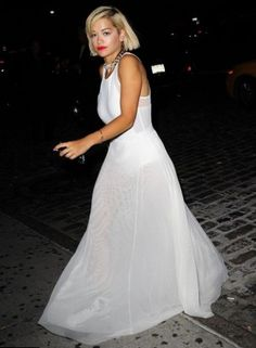 Rita Ora wearing Dkny Maxi Dress.