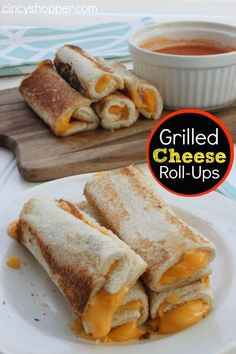 Grilled Cheese Roll-Ups. Easy and fun to pair with a bowl of tomato soup for lunch or dinner. Perfect fall meal!