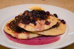 Blueberry Pancakes made with Whole Wheat Flour, served with Blueberry Maple Syrup