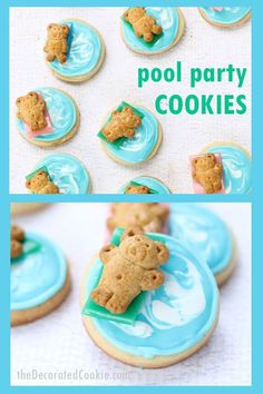 Pool party cookies: Swimming Teddy Grahams, a fun summer dessert idea. How to decorate easy pool party cookies for a fun summer dessert idea. Party Desserts, Summer Desserts, Dessert Recipes, Bar Recipes, Summer Recipes, Summer Treats, Holiday Desserts, Best Cookie Recipes, Brownie Recipes