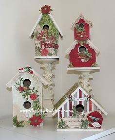 decorating bird houses with scrapbook paper | Altered Christmas Birdhouses