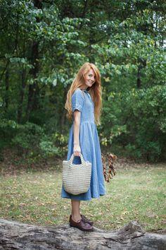 Bleu robe lin mode femme robe faite à la main par SondeflorShop
