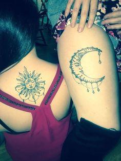 Sun and Moon Tattoo Ideas. Most Beautiful Sun and Moon Tattoo Ideas. Sun and Moon Matching Tattoos Sun Moon Tattoo Brother Tattoos, Sibling Tattoos, Best Friend Tattoos, Sister Tattoos, Daughter Tattoos, Moon Tattoo Designs, Tattoo Designs And Meanings, Diy Tattoo, Card Tattoo