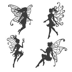 Illustration about Set of beautiful Fairy silhouettes. Black and white vector collection. Illustration of woman, fairy, vector - 121203755 Engel Silhouette, Fairy Silhouette, Silhouette Tattoos, Silhouette Clip Art, Tatto Floral, Fairy Templates, Free Adult Coloring, Drawing Tutorials For Beginners, Fairy Tattoo Designs