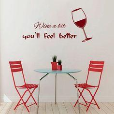 Glass of Wine Cafe Kitchen Decor Vinyl Sticker Home Decor Kids Art Wall Decor Sticker Decal size 33x52 Color