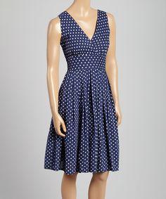 Look what I found on #zulily! Navy & White Polka Dot Surplice Dress by Aryeh #zulilyfinds