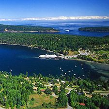 Aerial view of Active Pass, off Mayne Island (Russ Heinl photo)
