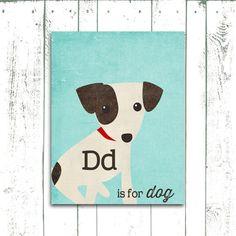 Dog Art Print - D is for Dog Alphabet Print Jack Russell Terrier Print - Nursery Wall Art