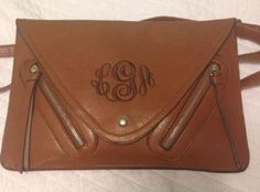custom monogram leather peyton clutch $49