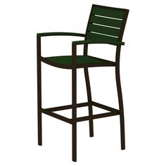 Polywood Euro Bar Height Patio Dining Arm Chair - Bronze/Green