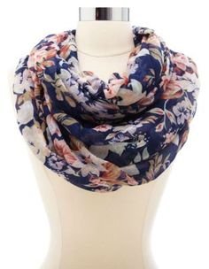 floral print infinity scarf Pretty Outfits, Cute Outfits, Cute Scarfs, Diy Scarf, Floral Scarf, Muslim Fashion, Fashion Outfits, Fashion Tips, Passion For Fashion