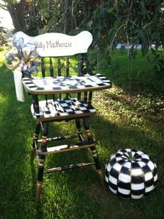 hand painted High chair - l love the tray.  The lack of color allows this to be used in any room.  Will consider something like this