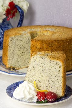 I hope you enjoy my Mom's treasured recipe for amazing Chiffon Poppy Seed Cake. Cake that is so light, fluffy and delicious! Baking Recipes, Cake Recipes, Dessert Recipes, Just Desserts, Delicious Desserts, Scones, Light Cakes, Brownies, Angel Food Cake