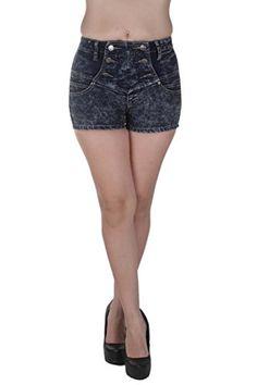 1532DB- VIP Jeans - Super High Rise, Acid Wash Stretch Short Shorts in Acid Wash Dark Blue Size 1/2