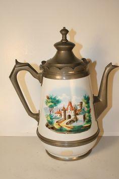 Graniteware Enamelware 1880s Pewter Antique Coffee Pot with Castle Design