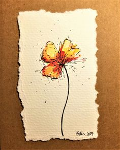 Watercolor Poppies, Watercolor And Ink, Watercolor Paintings For Beginners, Orange Painting, Small Paintings, Painting & Drawing, Orange Red, Creations, Greeting Card