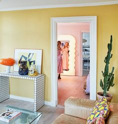 You've Been Seeing a Lot of This Mirror Lately SOdomino room interiordesign wall furniture property yellow home livingroom pink orange 64739313380955474 Room Inspiration, Interior Design, Aesthetic Room Decor, Pastel House, Home, Pastel Interior, Retro Home Decor, Retro Home, Home Decor