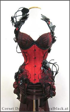 red corset with gorgeous detail