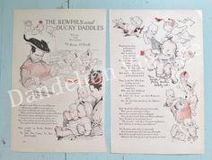 Vintage 1910s Kewpie Rose O'Neill 'The Kewpies and Ducky Daddles' story pages Original Good Housekeeping, Mermaid Doodle Dog