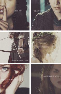 Percy Jackson characters - Silena Beauregard; Nico Di Angelo; Zoë Nightshade; Calypso; Rachel Dare; Clarisse La Rue. [x]
