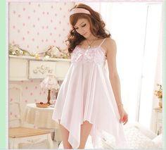 Sweet Style Lace Bowknot Embellished Irregular Sleepwear Light Pink $7.84