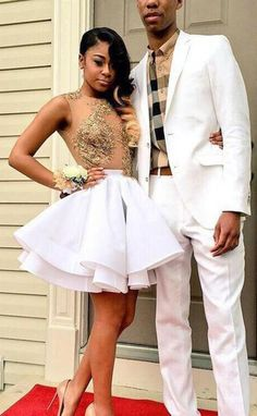 Sexy Jewel Sleeveless Short White Homecoming Dress with Gold Appliques Beading Illusion Top,Cute prom dress