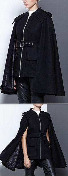 Black Wool Cape Zipped Jacket