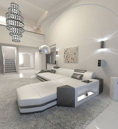 Modern Leather Sectional Sofa PRATO L Shaped with LED Lights #ad