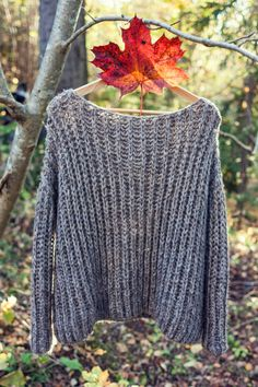 KNITTING PATTERN Ribbed Knit Fall Sweater One by KatrineHDesigns