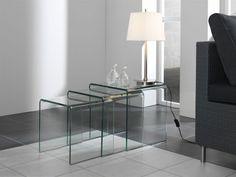 Glazen Bijzettafel Orlando - Set van drie tafels in helder glas