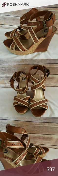 """Guess Tan Wedge Wide Strap Heels Size 9 M Great condition brown/tandenco wide strap open toe Wedge heel with diamond Lasercut. Size 9 Medium  Heel 5"""" Guess Shoes Wedges"""
