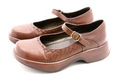 Dansko Womens Shoes Size 7.5 - 8 MAE Leather Brazil Mary Jane Golden Gate EU 38 #Dansko #Clogs