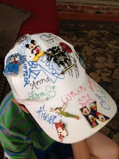 Collect Disney Character autographs on blank white hat. Great idea for boys and girls and keeps the sun out of their face and eyes, too! Pick up blank hats at local craft store.