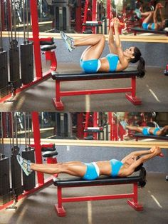 Kettlebell Pullover [for entire abdominal region] via Muscle & Fitness Hers