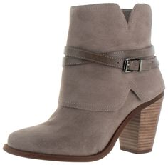 The Calven by Jessica Simpson is a compact ankle bootie with chunky block heel and a buckle strap layered shaft. It also is made of soft genuine leather suede upper, side zip entry for easy fit, memor