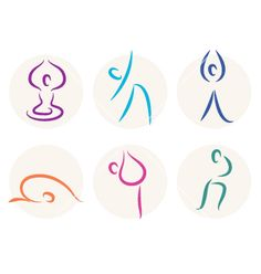 Yoga stick figure icons or symbols vector